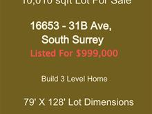 Lot for sale in Grandview Surrey, Surrey, South Surrey White Rock, 16653 31b Avenue, 262412270 | Realtylink.org